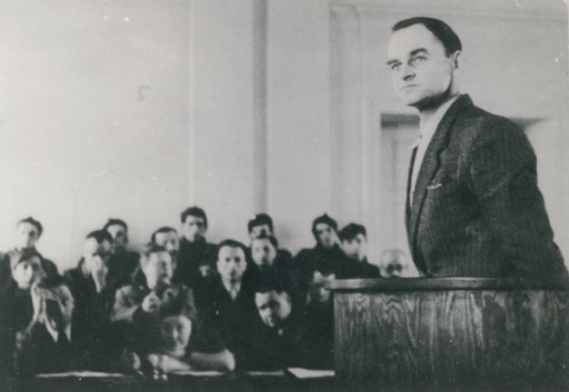 Witold Pilecki testifying against concentration camp horrors